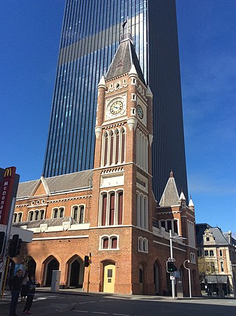 Perth Town Hall, like many colonial buildings in Perth, was built using convict labour. Perth Town Hall (North West corner faces).jpg