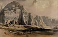 Petra; rock-cut buildings. Coloured lithograph by Louis Hagh Wellcome V0049429.jpg