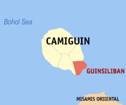 Map of Camiguin with Guinsiliban highlighted