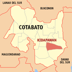 Map of کوتاباتو showing the location of Kidapawan City.