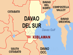 Map of Davao del Sur with Kiblawan highlighted