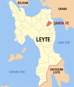 Map of Leyte with Santa Fe highlighted