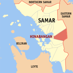 Map of Samar with Hinabangan highlighted