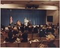 Photograph of Mrs. Betty Ford Offering Remarks During the First Lady's Drop-By at the Economic Briefing for... - NARA - 186783.tif