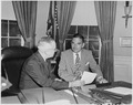 Photograph of President Truman in the Oval Office conferring with Governor Thomas E. Dewey of New York, he man he... - NARA - 200321.tif