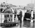 Photograph of President Truman preparing to board his yacht, the U.S.S. WILLIAMSBURG, at Pier 1 of the Naval Gun... - NARA - 198609.tif