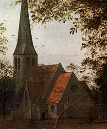 Painting detail of a church. Its steeple is to the left. A withered tree stands before the church.