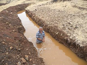 Contour trenching - A deep continuous contour trench in Maharashtra, India