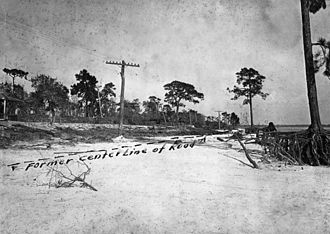 1921 Tampa Bay hurricane - A road washed out in Pinellas County