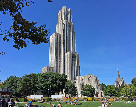 The lower campus, the traditional heart of the university, is typified by Gothic Revival architecture including Heinz Chapel (right) and the Stephen Foster Memorial (center foreground), but the 42-story Cathedral of Learning dominates most views across the Oakland neighborhood. PittCampus.jpg