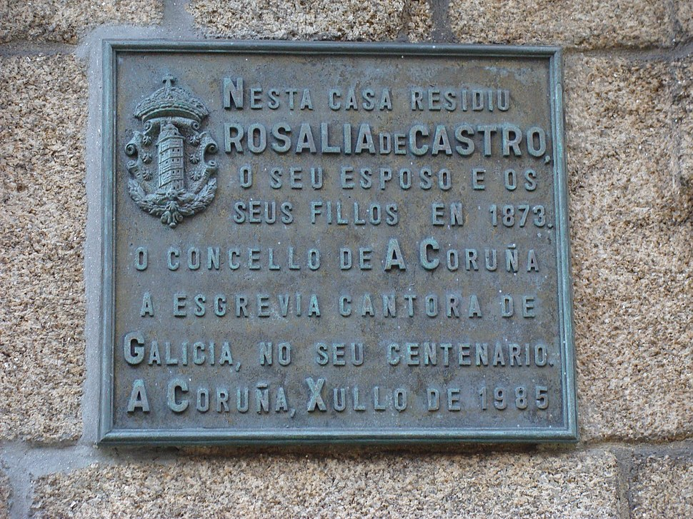 Placa na casa da Coruña.