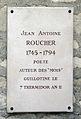 Plaque Jean-Antoine Roucher, Cimetière de Picpus, Paris 12.jpg