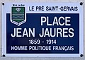 Plaque Place Jean Jaurès - Le Pré-Saint-Gervais (FR93) - 2021-04-27 - 1.jpg