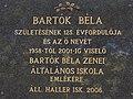 Plaque of Béla Bartók, Haller elementary school, Szent István király Street, 2017 Mosonmagyaróvár.jpg