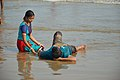 Playful Couple with Sea Waves - New Digha Beach - East Midnapore 2015-05-01 8765.JPG