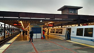 MacArthur station (BART) - Pleasant Hill-bound train at MacArthur station in January 2018