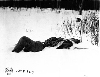 American Expeditionary Force, North Russia - A Bolshevik soldier killed in an attempted flank attack on allied troops at Bolshie Ozerki, Russia 8 April 1919.