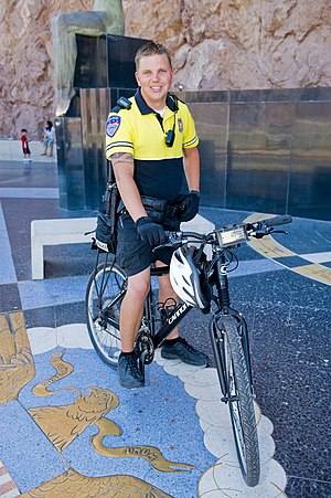 Police bicycle - Hoover Dam Police Officer on bike patrol.