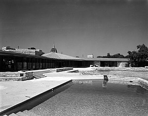 John Gillin Residence - View of the house and pool, 1957.