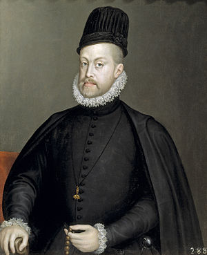 Toque - King Philip II of Spain, wearing the Spanish Tocado, late 1500s. Painting by Sofonisba Anguissola.