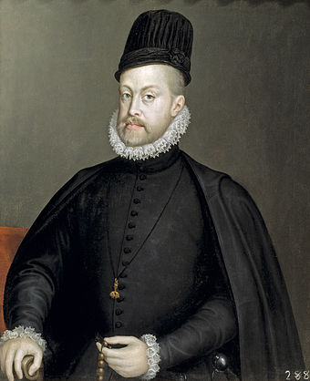 The reign of Philip II of Habsburg saw a deep economic and social crisis, and was disastrous for its cultural development; portrait by Alonso Sanchez Coello Portrait of Philip II of Spain by Sofonisba Anguissola - 002b.jpg