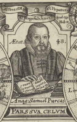 Portrait of Samuel Purchas - Purchas his Pilgrimes - engraved title page dated 1624.png