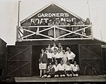 Portrait of rowers and onlookers outside Gardner's Boatshed, Sydney (7194171552).jpg