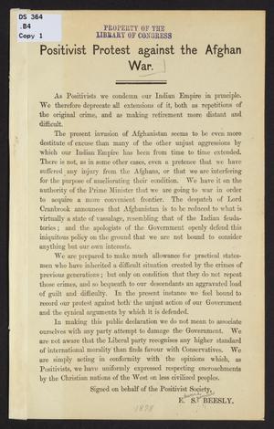London Positivist Society - Positivist Protest against the Afghan War 1878