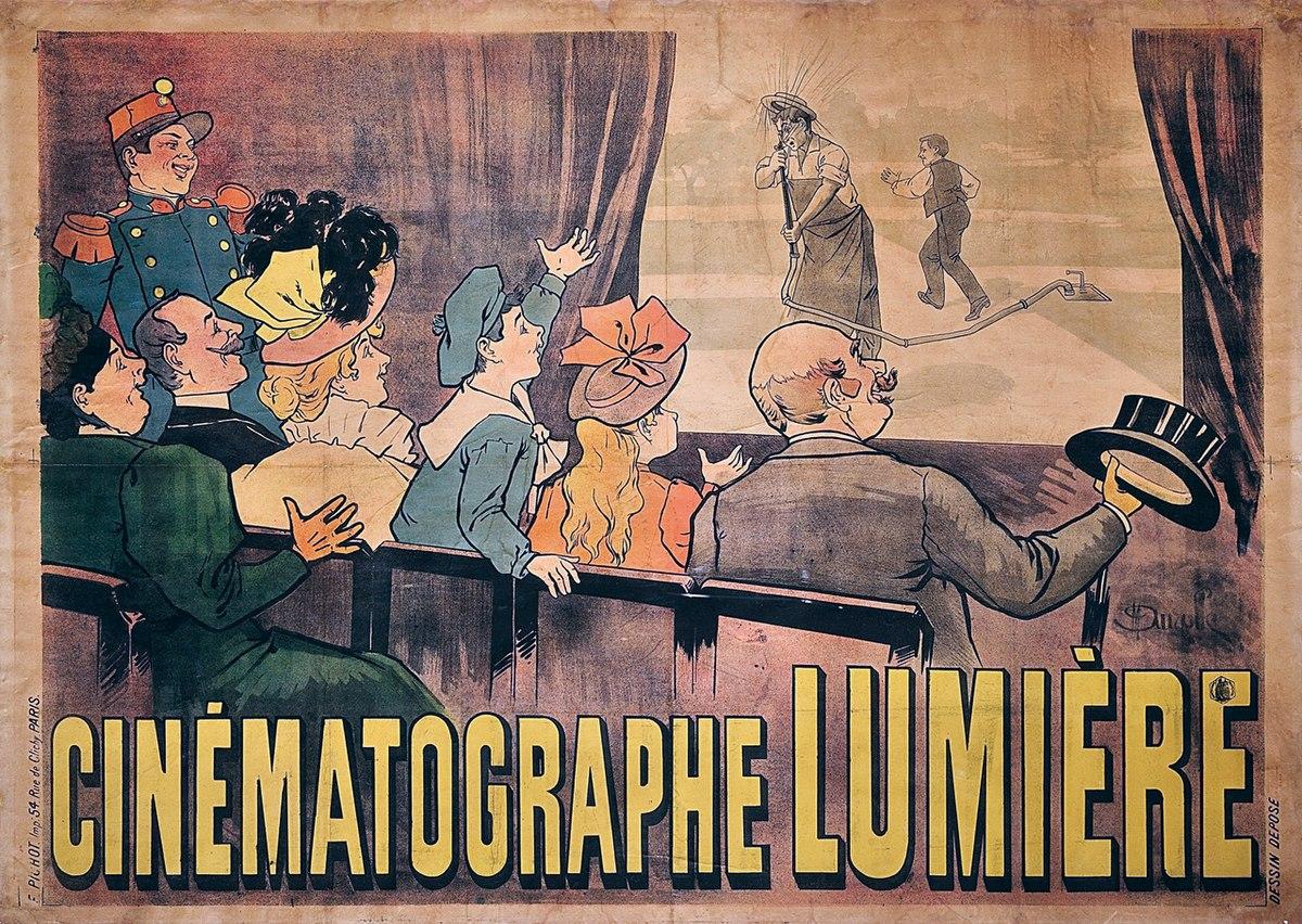 El primer cartel de cine de la historia, el de la película El regador regado de los hermanos Lumière (1895).