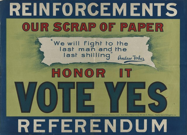 Poster for the Yes vote Australian Conscription referendum 1917