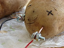 "Photograph of a potato. A copper wire is stuck into the potato, and an insulated lead wire is connected to the top of it using a nut and screw. A galvanized machine screw is also stuck into the potato. There is a nut that is next to the screw head; the second lead wire is squashed between the head and the nut. A ""+"" symbol is marked on the potato's skin near the copper wire that is stuck into it."
