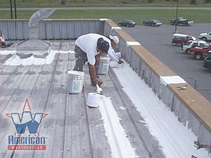 Roof coating - Prepping the seams on a Metal Roof Prior to the Application of a Roof Coating