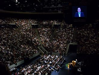 Marriott Center - Thomas S. Monson addressing the student body during a weekly devotional in 2008