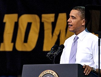 Iowa Field House - left President Obama speaks at the University of Iowa Field House , 2010