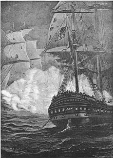 President and Endymion engaged in battle. President is in the foreground shown from the stern and Endymion is covered in cannon smoke