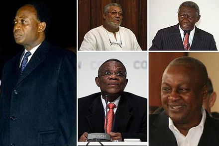 First President of the Republic of Ghana Nkrumah and presidents of the 4th Republic of Ghana Rawlings; Kufuor; Mills and Mahama. Presidents of Ghana and of the 4th Republic of Ghana.JPG