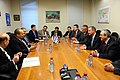 Prime Minister Benjamin Netanyahu and Minster of Industry and Trade Naftali Bennett,President Shimon Perez (8720594352).jpg