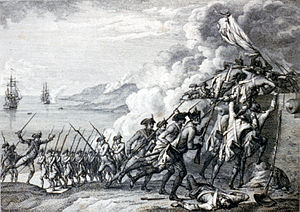 Invasion of Dominica (1778) - Battle scene with French soldiers from frigates firing on the British garrison