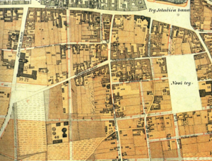 Lenuci Horseshoe - 1865 map of downtown Zagreb. Future Zrinski Square is visible on the east, while Republic of Croatia Square is on the west side