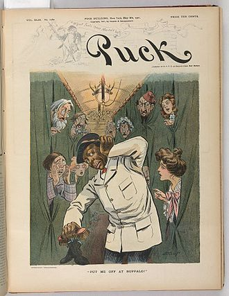 "Put Me Off at Buffalo - May 8, 1901 cover of Puck magazine, train passengers asking to be ""put off"" at Buffalo to visit the Pan-American Exposition."