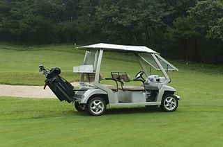 Golf cart Small vehicle designed originally to carry golfers
