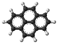Ball-and-stick model of the pyrene molecule