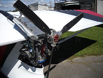Rotax 582 - A Warp Drive Inc propeller mounted to a Rotax 582 on a Quad City Challenger II.