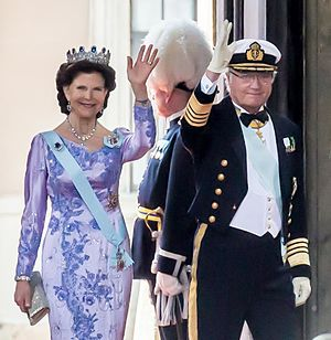 Queen Silvia of Sweden - The Queen with the King in 2015.