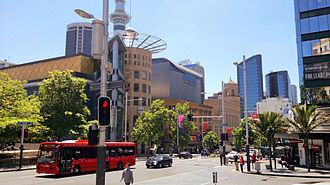 Queen Street, Auckland - Queen Street by Aotea Square. The SkyCity Village Cinemas is visible in the background.