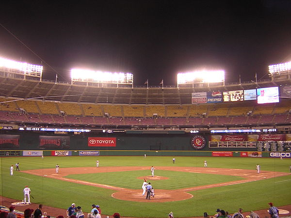 A Washington Nationals game at RFK, June 2005 RFK Stadium baseball.JPG
