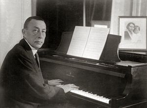 Sergei Rachmaninoff at a Steinway grand piano.