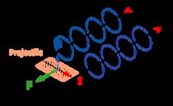 Le courant I et le champ magnétique B traversant le projectile induisent une force F