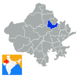 Location of Sikar district in Rajasthan