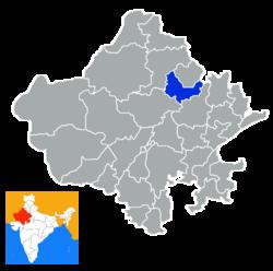 Rajasthan పటంలో Sikar జిల్లా స్థానం